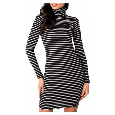černé pruhované dámské elastické šaty Rue Paris