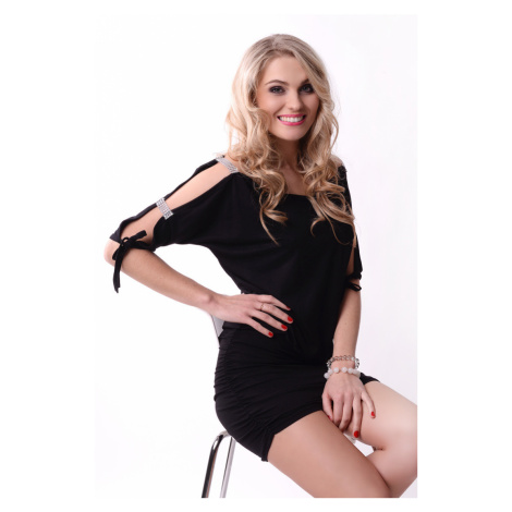 Krátké šaty s mašličkou a flitry na rukávech barva černá Oxyd