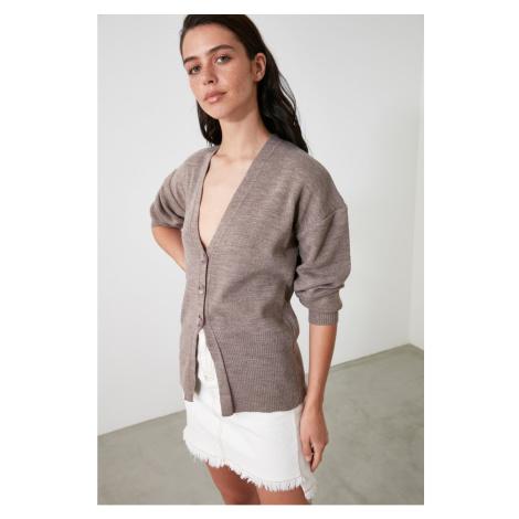 Trendyol Mink Button Knitwear Cardigan