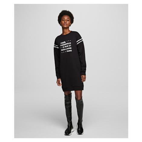 Mikina Karl Lagerfeld Stackd Logo Address Sweatdress - Černá