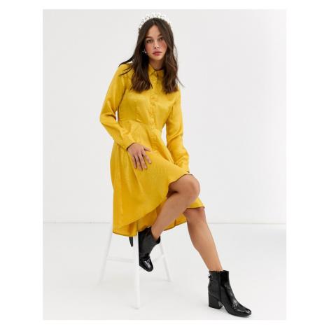 QED London satin jacquard shirt dress in mustard-Yellow