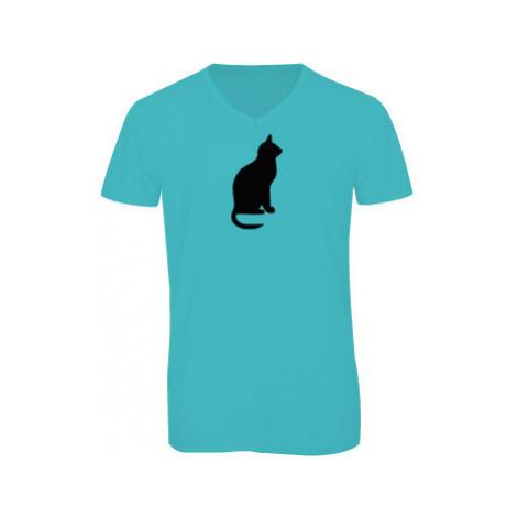 Pánské triko s výstřihem do V Kočka - Shean