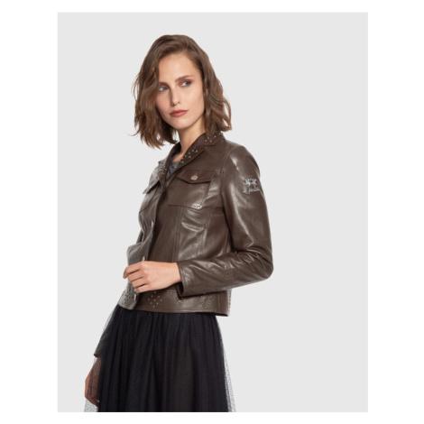 Bunda La Martina Woman Jacket Real Leather - Hnědá