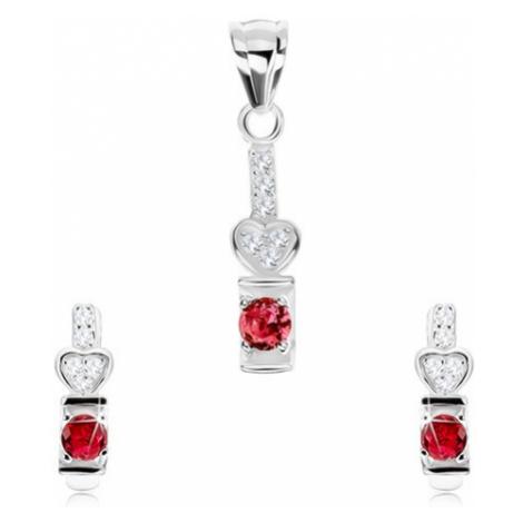 Set, stříbro 925, náušnice a přívěsek, růžový zirkon, čiré srdíčko Šperky eshop