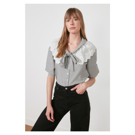 Trendyol Grey Brode Collar Shirt