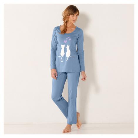 Blancheporte Pyžamo s potiskem koček modrá
