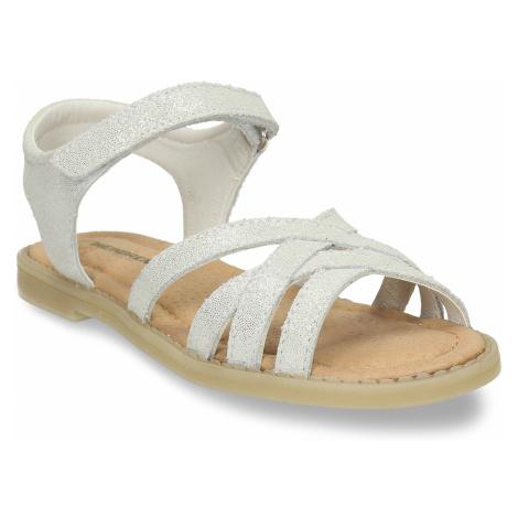 Dětské stříbrné kožené sandály Baťa