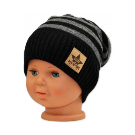 BABY NELLYS Podzimní/zimní proužkovaná čepice - černo/šedá, vel.