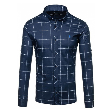 Tmavě modrá pánská kostkovaná košile s dlouhým rukávem Bolf 0280 MADMEXT