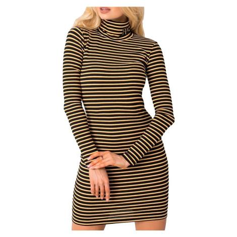 černo-žluté pruhované šaty s rolákem Rue Paris