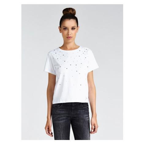 Guess GUESS dámské bílé tričko s kamínky