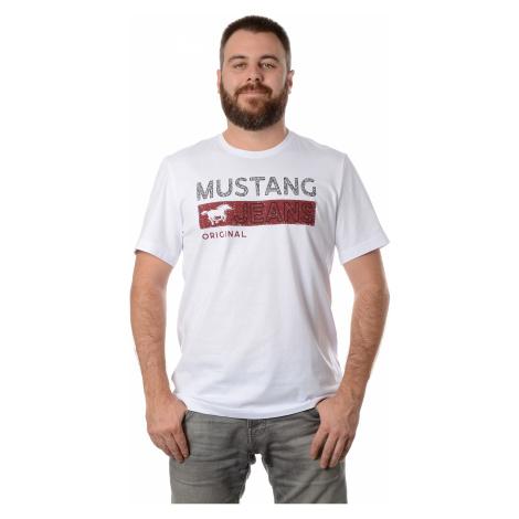 Triko Mustang Alex C Print pánské bílé