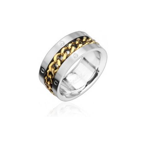Prsten z oceli s pozlaceným řetězem Šperky eshop