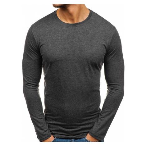 Antracitové pánské tričko s dlouhým rukávem bez potisku Bolf 135 STREET STAR