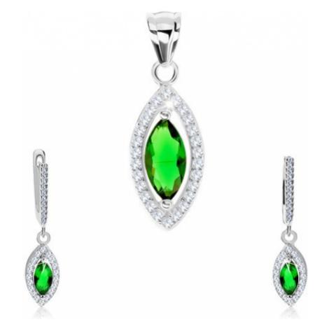 Set, stříbro 925, náušnice a přívěsek, zelené zirkonové zrnko, třpytivý lem Šperky eshop