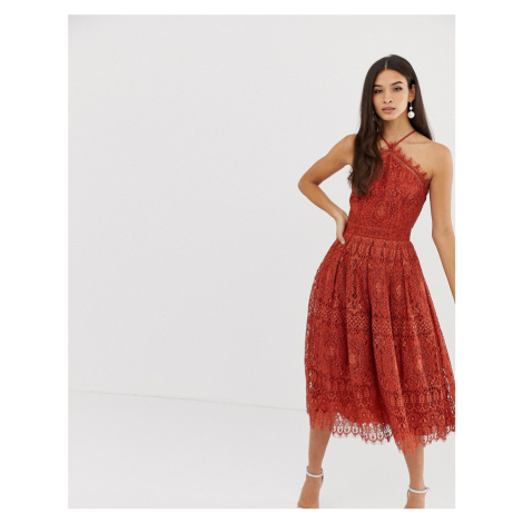 ASOS DESIGN lace midi dress with pinny bodice - Red