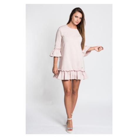 Mini šaty s 34 zvonovými rukávy a spodním rozkošným řasením