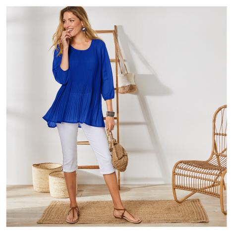 Blancheporte Jednobarevná plisovaná tunika tmavě modrá