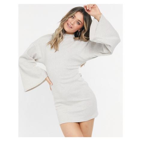 ASOS DESIGN brushed rib batwing cut out back mini dress in stone-Cream