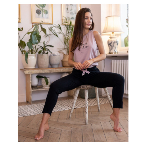 Dámské pyžamo Sensis Power SL Černo-růžová