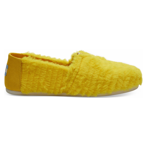 Yellow Big Bird Faux Feathers Women Alpargata Toms