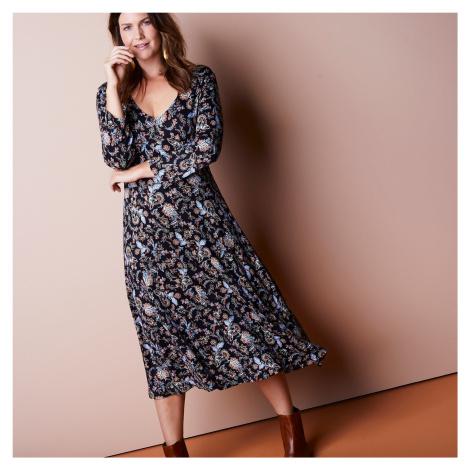 Blancheporte Midi šaty s potiskem černá/karamelová