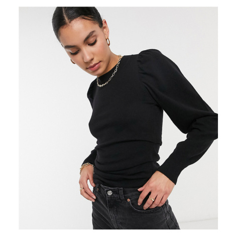 ASOS DESIGN Tall volume sleeve jumper with ruched waist in black