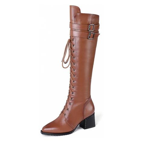 Kožené kozačky šněrovací dámské mušketýrky kovboj vysoké boty