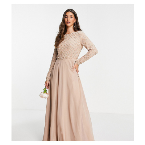 ASOS DESIGN Tall Bridesmaid maxi dress with long sleeve in pearl and beaded embellishment with t