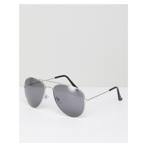 7x Aviator Sunglasses With Black Colour Lens - Silver