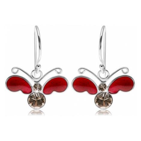 Náušnice ze stříbra 925, motýl - červená poloprůsvitná křídla, čiré zirkony Šperky eshop