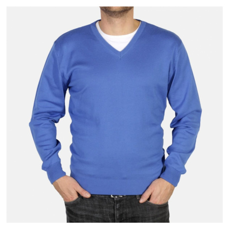 "Pánský pulovr Willsoor 4881 v modré barvě s výstřihem do ""V"""