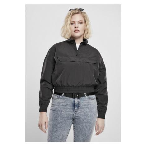 Urban Classics Ladies Cropped Crinkle Nylon Pull Over Jacket black
