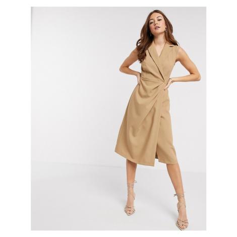 Closet London wrap midi dress in camel-Brown