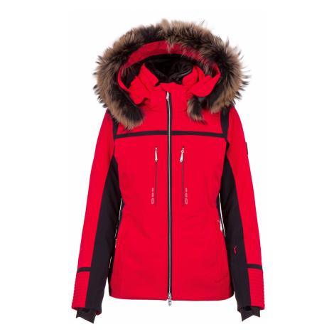 Lyžařská bunda s kožíškem Descente LAYLA červená