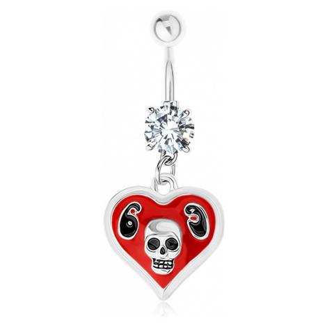 Ocelový 316L piercing do bříška, srdce, glazura, lebka, číslice 69 Šperky eshop