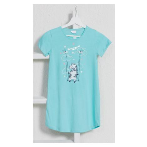 Dětská noční košile s krátkým rukávem Zebra, 9 - 10, mentolová Vienetta Secret