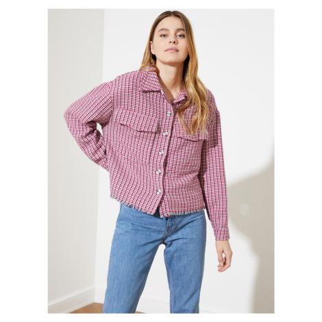 Trendyol fialová volná kostkovaná košile