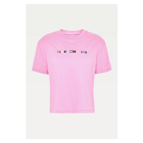 Tommy Hilfiger Tommy Jeans dámské růžové tričko TJW COLORED LINEAR LOGO TEE