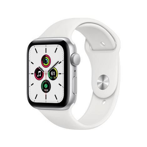 Apple Watch SE 44mm Stříbrný hliník s bílým sportovním řemínkem