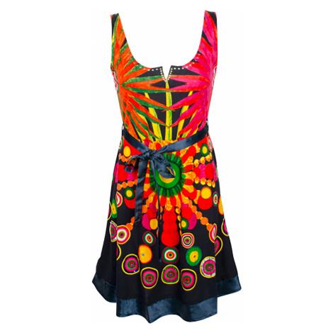 Desigual barevné šaty s lesklým páskem