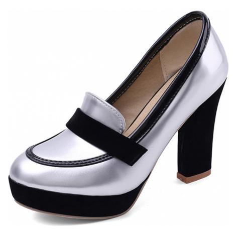 Kožené černé loafers lakované stříbrné na vysokém podpatku
