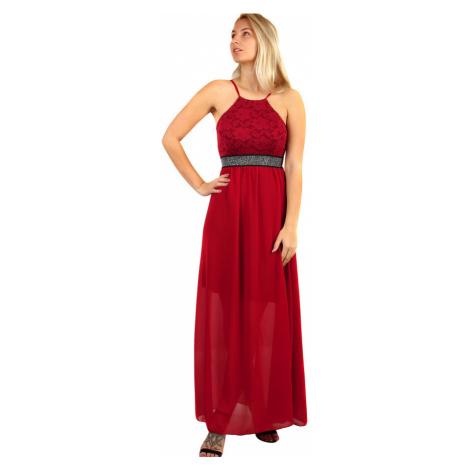 Dlouhé šifonové šaty s krajkou na ples s úzkými ramínky