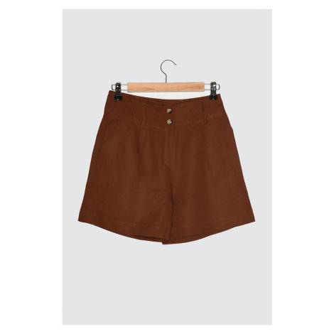 Trendyol Brown Pleated Shorts & Bermuda