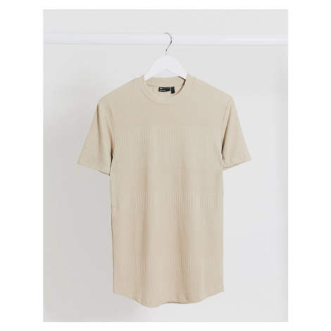 ASOS DESIGN muscle fit ribbed t-shirt in beige