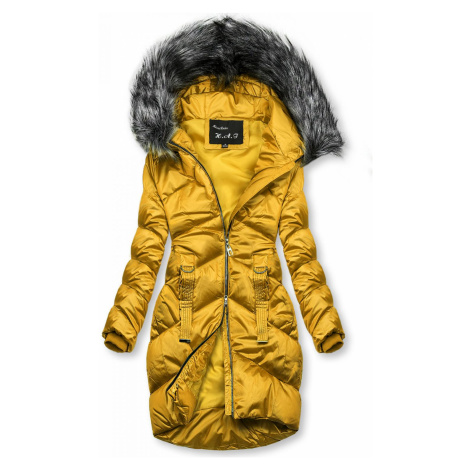 Mustard lesklá prošívaná bunda na zimu Butikovo