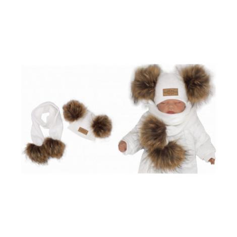Z&Z Zimní čepice s bambulemi z kožešinky a šálou 2v1, bílá, vel.