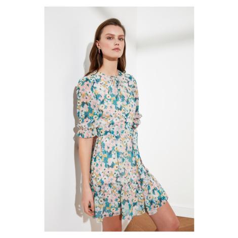 Trendyol Multicolored Belt Floral Patterned Dress