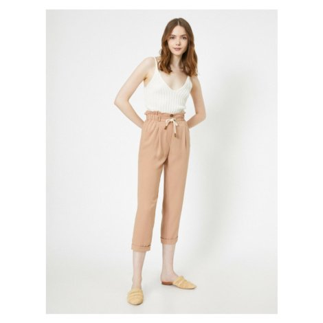 Koton Women's Pink Gathered Waist Gathered and Lace Up Detailed Pockets Double Leg Trousers