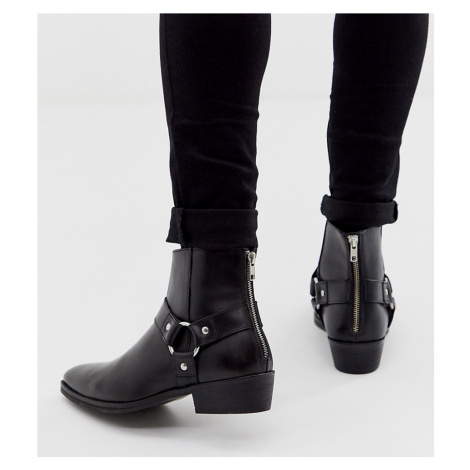 ASOS DESIGN Wide Fit cuban heel western chelsea boots in black leather with buckle detail